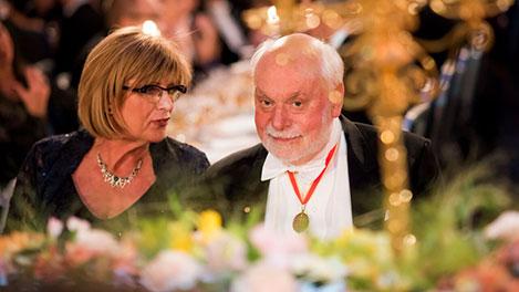 Sir Fraser Stoddart and Elisabeth Bootsma, Partner of Chemistry Laureate Benard L. Feringa at the table of honour at the Nobel Banquet