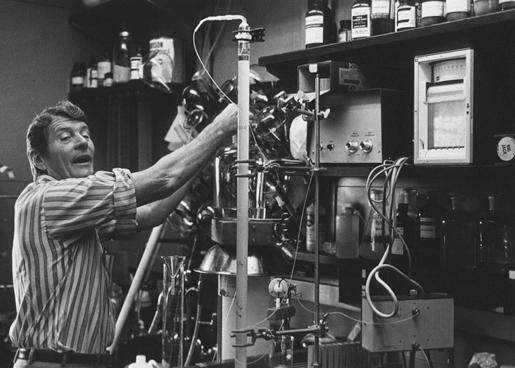 Christian Anfinsen in his laboratory