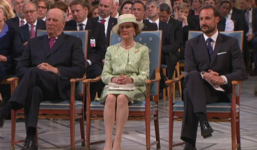 The Norwegian Royal Family. Left to right: King Harald V, Queen Sonja and Crown Prince Haakon at the Oslo City Hall