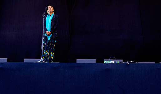 Aung San Suu Kyi makes a speech on stage during the celebration.