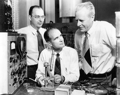 From left: John Bardeen, William B. Shockley and Walter H. Brattain.