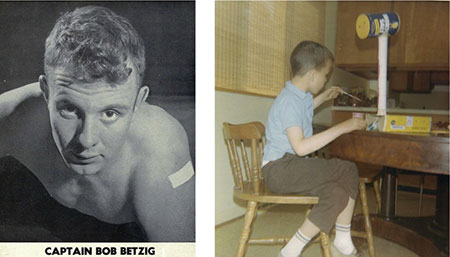 Two budding engineers. My Dad, captain of the University of Michigan wrestling team, 1948. Me, building a giraffe, age 7.