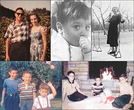 "My early life and family. Clockwise from top left: My parents, standing in the front yard of our house in Arcadia, early 1960s (backdrop: a lantana bush often covered with skipper butterflies). Photograph taken of me at about 2 years of age, either before or after departure from Chicago for California. My maternal grandmother, Mary Fleisher (""Bubbie"" to my sibs and me). My brothers and infant sister posing in front of the living room fireplace in 1962. From left: Steve, Bruce, Debbie, and Earl. My brothers and me, in the front yard of our home, ca. 1960. From left: Steve, Earl, and Bruce."