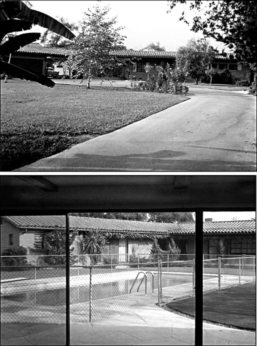 The house where I grew up (Arcadia, CA, early 1960s). A. Partial view of the front yard from the front gate, showing banana tree (bottom left) rose bushes and rose trees, a young sycamore tree and eucalyptus tree, olive tree, and adobe brick house with terra cotta tile roof. B. Partial view of the back yard and swimming pool, taken from inside the 'guest house' (ultimately an annex to my room).