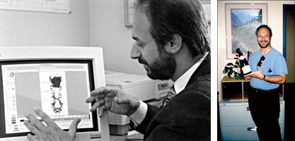 Left: Examining the predicted interaction of a TNF inhibitor molecule with TNF in a mock-up made by Dr. Steven Sprang, a colleague at UT Southwestern Medical Center. Photographed in 1995, courtesy David Gresham, UT Southwestern. Right: Holding a bottle of champagne in mid-September, 1998. Robert Munford, a colleague with a longstanding interest in LPS, brought it to our lab for a brief, impromptu celebration on hearing that the mutation had been identified. The bottle has been kept in my office to the present day as a memento.