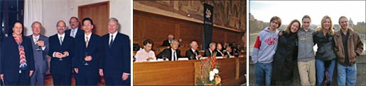 Left: Top: Receiving the Robert Koch Prize with Shizuo Akira and Jules Hoffmann, 2004. Middle: Receiving the Balzan Prize in Berne, Switzerland, 2007. Left to right: Dame Rosalyn Higgins, Sumio Iijima, Michel Zink, Jules Hoffmann, Bruce Beutler, and Karlheinz Böhm. Lower: In Paris to receive the Charles-Leopold-Mayer Prize of the French Academy of Sciences, 2006. Left to right: Elliot Beutler, Nadia Krochin, Jonathan Beutler, Betsy Layton, and Daniel Beutler. (Photographed by Bruce Beutler).