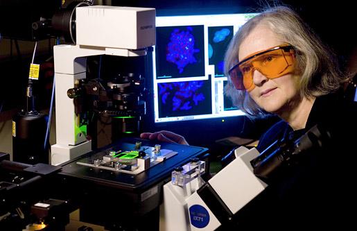 Professor Elizabeth Blackburn with a microscope