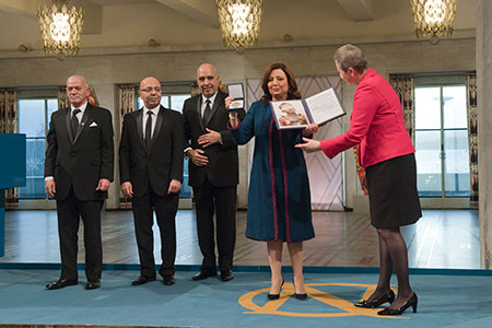 Kaci Kullmann Five of the Norwegian Nobel Committee and the representatives of Tunisia's National Dialogue Quartet at the Nobel Peace Prize Award Ceremony.