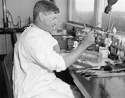 Sir Frank Macfarlance Burnet in the laboratory.