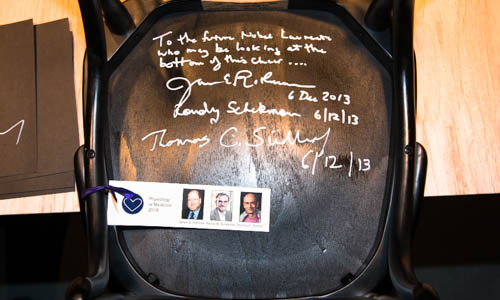A chair signed by all 2013 Medicine Laureates at the Nobel Museum in Stockholm