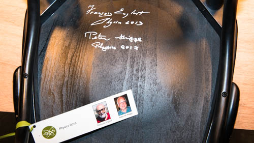 A chair signed by both 2013 Physics Laureates at the Nobel Museum in Stockholm, 6 December 2013