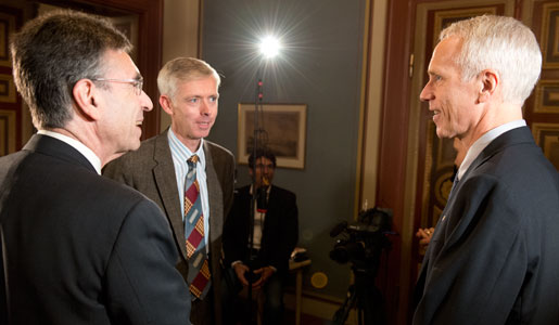 Chemistry Laureates Brian K. Kobilka (right) and Robert J. Lefkowitz (left) meet with Nobelprize.org's interviewer Adam Smith (middle)