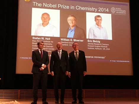 All three Chemistry Laureates assembled at stage after the Nobel Lectures in the Aula Magna, Stockholm University, on 8 December 2014. From left: Eric Betzig, Stefan W. Hell and William E. Moerner.