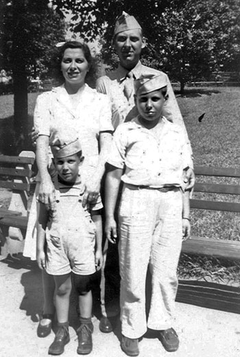 Diamond with older brother Richard and parents, summer, 1944