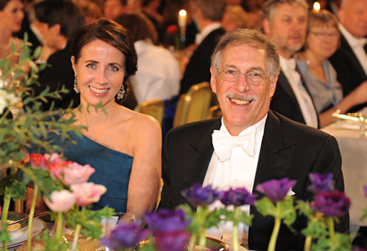 Peter A. Diamond and Mrs Filippa Reinfeldt at the Nobel Banquet