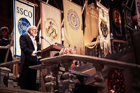 William C. Campbell delivering his banquet speech during the Nobel Banquet.