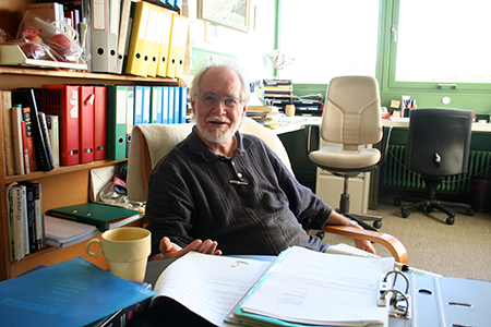 Jacques Dubochet in his office