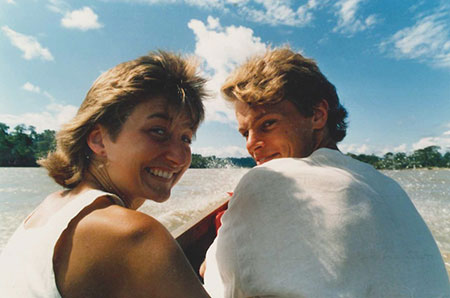 May-Britt and me on a tributary of the Amazon in Ecuador in 1986.