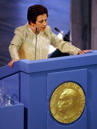 Shirin Ebadi       delivers her Nobel Lecture after receiving the 2003 Nobel       Peace Prize in the Oslo City Hall, Oslo, Norway.