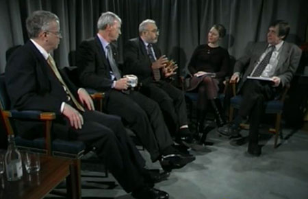 George A. Akerlof, A. Michael Spence and Joseph E. Stiglitz during the interview