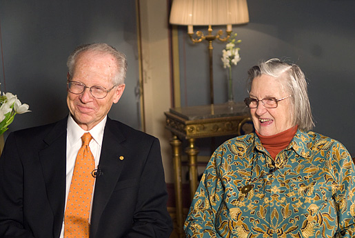 Oliver E. Williamson and Elinor Ostrom at their interview with Nobelprize.org in Stockholm.