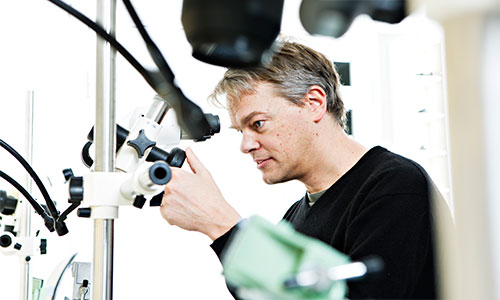 Edvard I. Moser in the laboratory. Photo: Geir Mogen/NTNU.