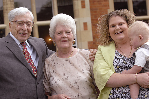 Prof. Robert Edwards, Lesley Brown, Louise Brown, and Louises's son Cameron.
