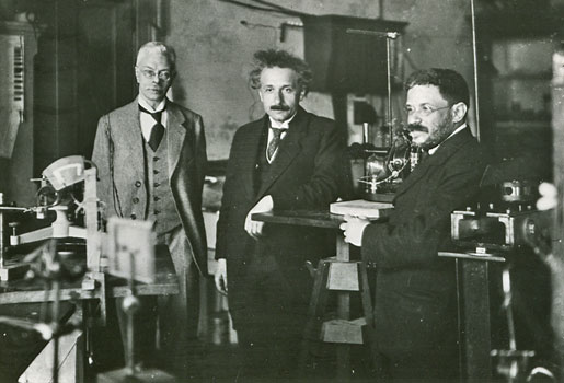Albert Einstein visiting Pieter Zeemanin Amsterdam, with his friend Paul Ehrenfest, ca 1920.