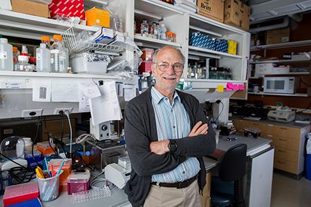 Michael Rosbash in his laboratory
