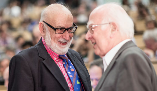 François Englert (left) and Peter Higgs (right) at a CERN seminar, 2012.