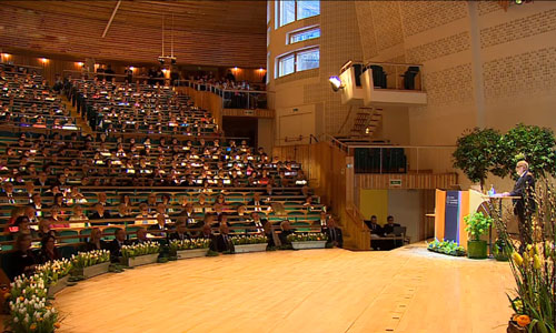François Englert delivering his Nobel Lecture in the Aula Magna at Stockholm University