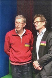 Me with my chemistry teacher G. Op de Weegh at a recent reunion of our high school.