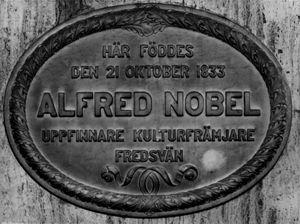 plate in Nobel home