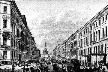 Nevskij Prospekt, the main street of St. Petersburg, in the 1870s.