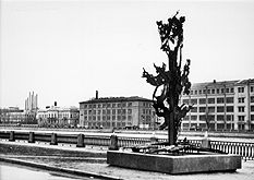Nobel monument Blown up Tree on the bank of the River Neva, St. Petersburg.