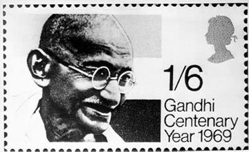Gandhi on stamp