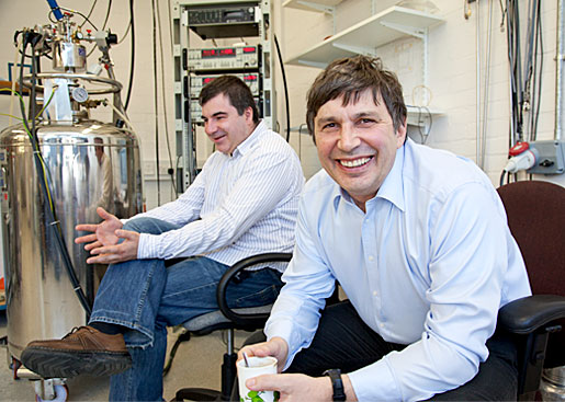 Andre Geim and Konstantin Novoselov  in their laboratory at the University of Manchester