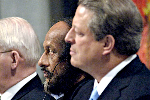 Rajendra K. Pachauri and Al Gore listen to the introductory speech during the 2007 Nobel Peace Prize Award Ceremony