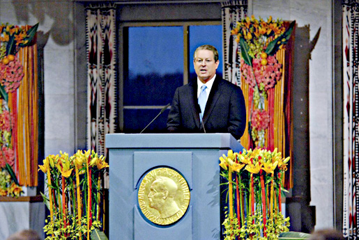 Al Gore delivering his Nobel Lecture in the Oslo City Hall, 10 December 2007.