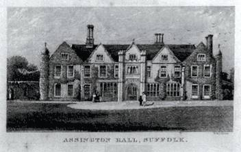 Assington Hall, Suffolk. Burnt down in 1957.