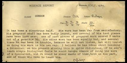 Eton school report for JBG from Biology master, 1949.