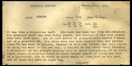 Eton school report for JBG from Biology master, 1949.