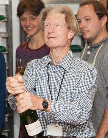 Sir John B. Gurdon celebrating the Nobel Prize in Physiology or Medicine