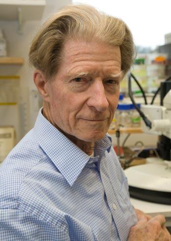 Sir John B. Gurdon in his laboratory