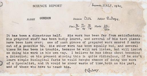 Sir John B. Gurdon's science report card from Eton College, 1949