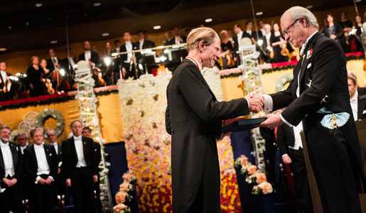 Sir John B. Gurdon receiving his Nobel Prize from His Majesty King Carl XVI Gustaf