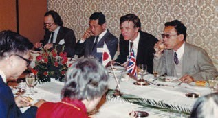 A Euoropean-style dinner at the 1980 Taniguchi Symposium in Japan.
