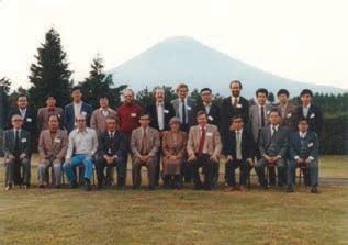 The Taniguchi Symposium participants in front of Mt. Fuji in November 1980.