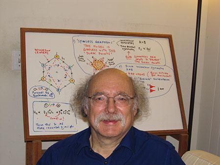 Duncan Haldane in front of a whiteboard.