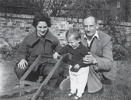 With my parents Ruth and Philip, April 1950.